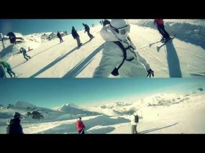 Lumilautailua Les 2 Alpes-keskuksessa.