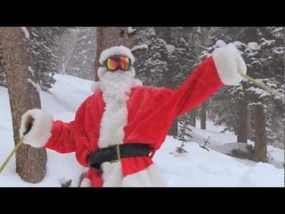 Joulupukki nauttii Big Skyn puuteripäivästä