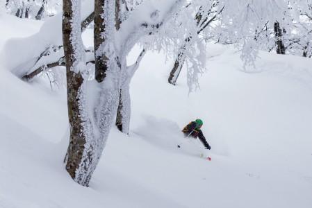 Nozawa onsenin parhaita puolia on hyvät mahdollisuudet päästä piirtämään omaa jälkeä pehmeään lumeen.