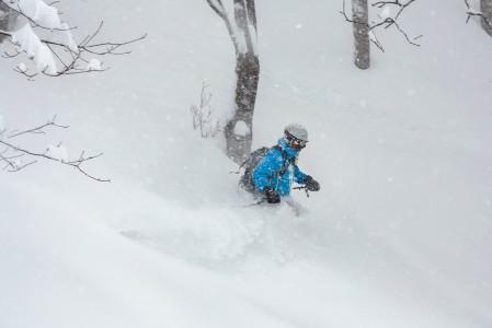 Seki Onsen tarjosi syvintä kokemaamme puuterihiihtoa. Kevyessä, mutta syvässä lumessa on helppo laskea ja eteneminen tuntuu painottomalta leijumiselta.