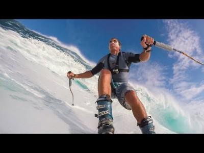 Chuck Patterson antaa tyylinäytteen jättiaaltojen surffaamisesta suksilla.