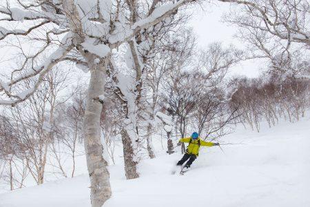 Nisekon Hanazonon hiihtoalueen ulkopuoleinen kylki tarjoaa hienoa profiilia. Rinteenpuoleiselle harjanteelle noustaan kätevästi takaisin rinnekoneen tamppaamaa latua pitkin.