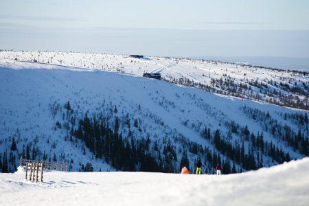 Sälenin Tandådalenista näkyy hyvin viereiselle Hundfjälletin hiihtoalueelle. Ensimmäisenä vastapuolella 45-asteisen jyrkkä Väggen-rinne.