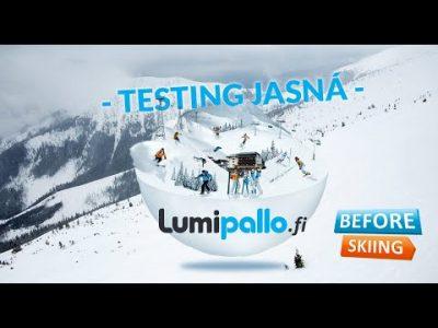 Lumipallon testiryhmä koeajaa Jasnan hiihtokeskuksen maaliskuussa 2019