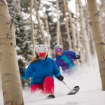 Amie Engerbretson and Jenny Harris skiing, Aspen Resort, Aspen, Colorado