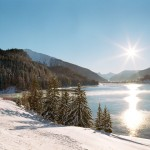 Davos alppijärvi maisema alppimaisema
