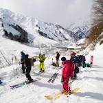 Hakuba Happo one north skiers at bottom