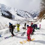 Hakuba Happo one north skiers at bottom