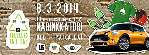Recycled Rail Day –lumilautailutapahtuma järjestetään Helsingin Narinkkatorilla lauantaina 8.3. klo 18 – 21.