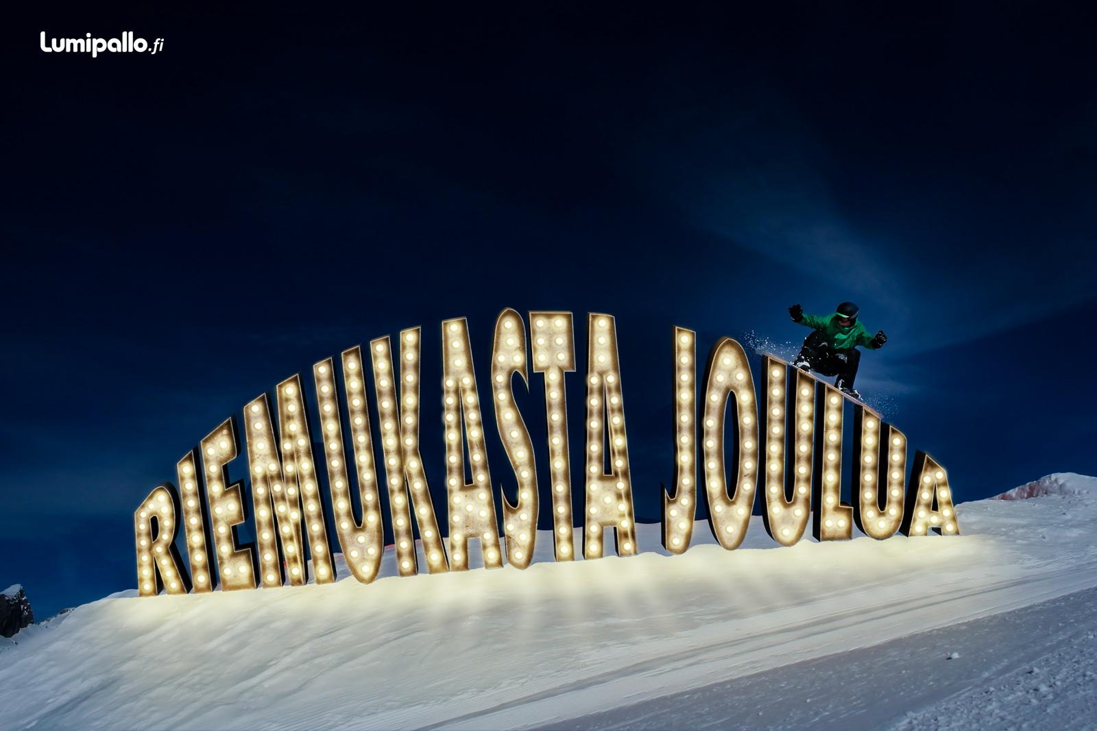 Valokyltti tekstillä - Riemukasta joulua.