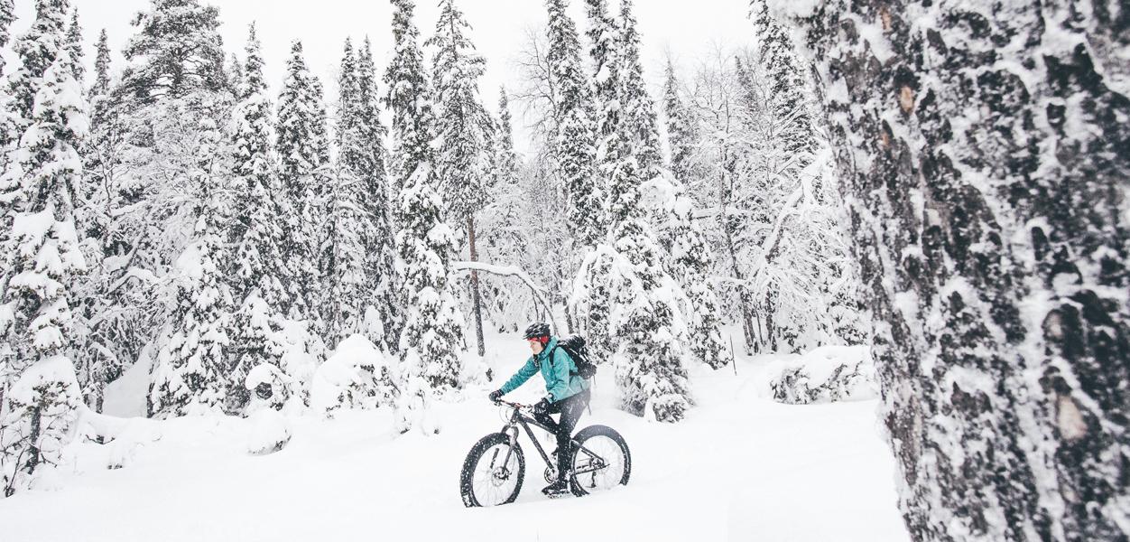 Lumisessa maastossa fatbike on parhaimmillaan.